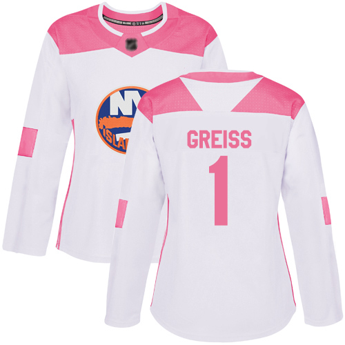 Adidas Women's Thomas Greiss Authentic White/Pink Jersey: NHL #1 New York Islanders Fashion