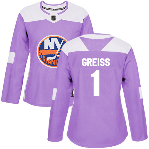 Adidas Women's Thomas Greiss Authentic Purple Jersey: NHL #1 New York Islanders Fights Cancer Practice