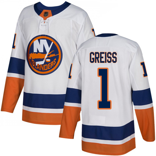 Reebok Men's Thomas Greiss Authentic White Away Jersey: NHL #1 New York Islanders