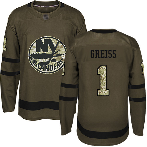 Adidas Men's Thomas Greiss Authentic Green Jersey: NHL #1 New York Islanders Salute to Service