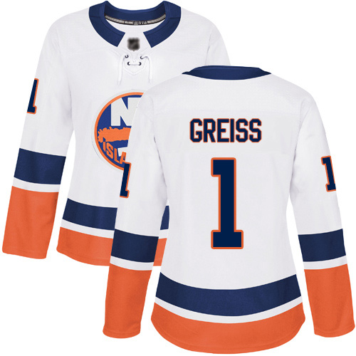 Reebok Women's Thomas Greiss Authentic White Away Jersey: NHL #1 New York Islanders