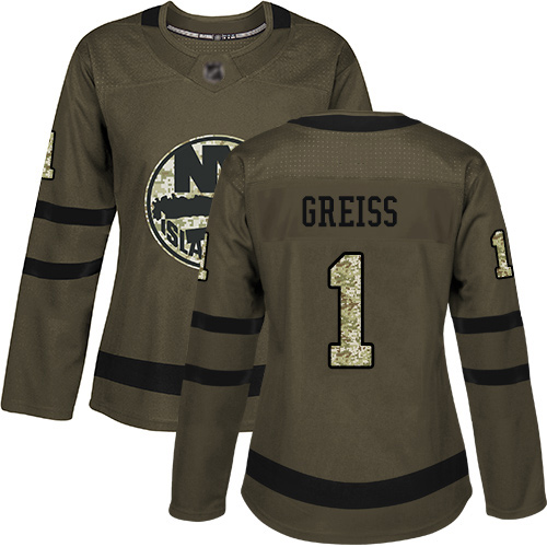 Adidas Women's Thomas Greiss Authentic Green Jersey: NHL #1 New York Islanders Salute to Service