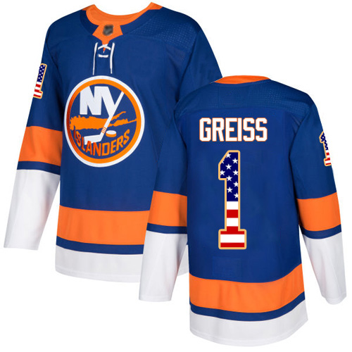 Adidas Men's Thomas Greiss Authentic Royal Blue Jersey: NHL #1 New York Islanders USA Flag Fashion